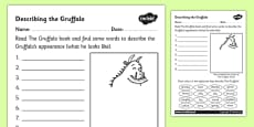 The Gruffalo Description Worksheet