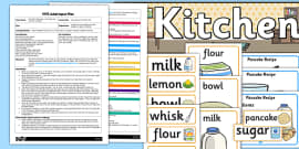 Pancake Kitchen Role Play EYFS Adult Input Plan and Resource Pack to Support Teaching on Mr Wolf's Pancakes