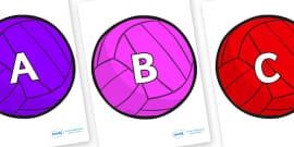 A-Z Alphabet on Water Polo Balls