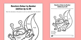 Monster Colour by Number Addition to 20