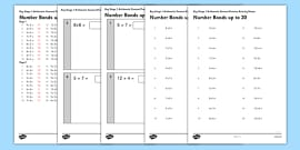 KS1 Arithmetic Content Practice Activity Sheet Pack Number Bonds to 20