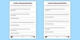 London Underground Routes Writing Frames