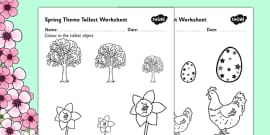 Spring Themed Themed Tallest Object Activity Sheet