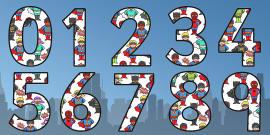 Superhero Themed Display Numbers