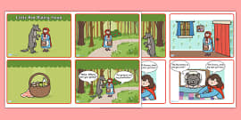 Little Red Riding Hood Story Sequencing (4 per A4 with Speech Bubbles)