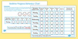 Bedtime Progress Behaviour Chart
