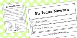 Sir Isaac Newton Significant Individual Writing Frame
