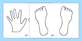 Hand And Feet Colouring Sheets