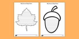 Autumn Themed Shape Poetry Templates