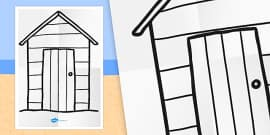 Large Seaside Themed Beach Hut Colouring Template