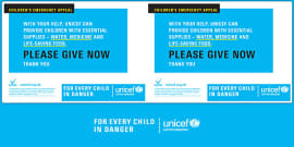 Unicef Emergency Collection Tin Label