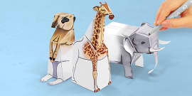 3D Safari Paper Model Activity Pack