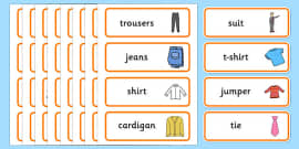 Clothes Shop Word Cards