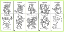 Aztec Gods Colouring Sheets