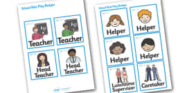 School Role Play Badges