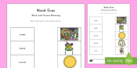 * NEW * Mardi Gras Word and Picture Matching Activity Sheet