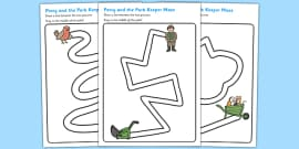 Pencil Control Path Worksheets to Support Teaching on Percy the Park Keeper