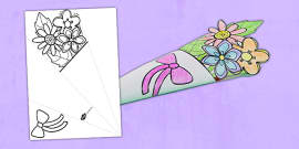 * NEW * Mother's Day Paper Flower Bouquet Colouring Activity