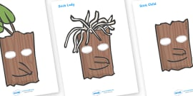 Story Role Play Masks to Support Teaching on Stick Man