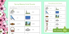 Spring K-2 Initial Missing Sounds Activity Sheet