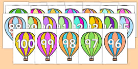 Numbers 0-100 on Hot Air Balloons
