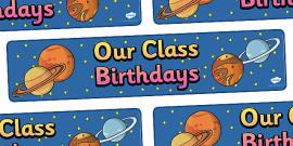 Editable Birthday Display Set Space Banner