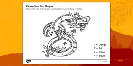 Chinese Dragon Number Colouring by Numbers Sheet