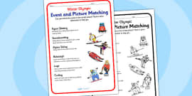 Winter Olympics Event And Picture Matching Activity Sheet