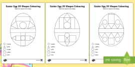 * NEW * Easter Egg Colour by 2D Shapes Activity Sheets