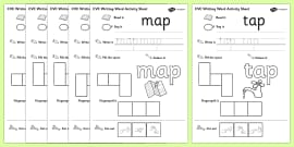 CVC Writing Word Activity Sheet Pack 'a' with British Sign Language