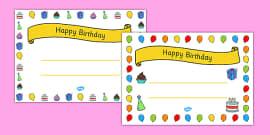 General Happy Birthday Certificates