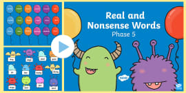 Phase 5 Phonics Real and Nonsense Words Popping PowerPoint