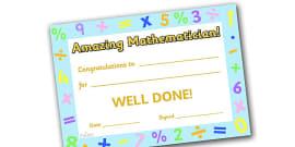 Amazing Mathematician Award Certificate