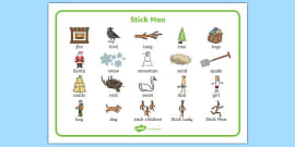 Word Mat (Images) to Support Teaching on Stick Man