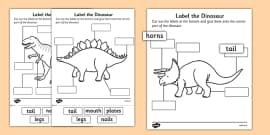 Label the Dinosaur Activity Sheets