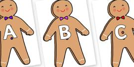 A-Z Alphabet on Gingerbread Man