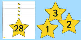 Numbers 0-30 on Stars