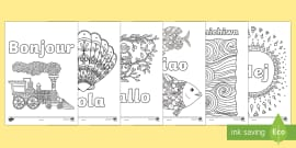 * NEW * Hello in Different Languages Mindfulness Colouring Pages