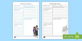 * NEW * All About My Teacher: Teacher Appreciation Writing Template