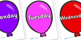 Days of the Week on Party Balloons