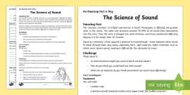 The Science of Sound Activity Sheet