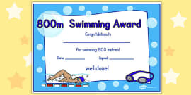 800m Swimming Certificate