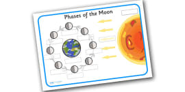 Phases of the Moon Labelling Activity Sheet (with Label Boxes)