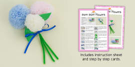 Pom Pom Flowers Craft Instructions