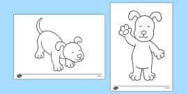 Dog Themed Colouring Sheets to Support Teaching on The Blue Balloon