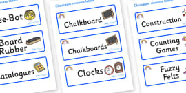 Rainbow Themed Editable Additional Classroom Resource Labels