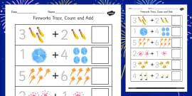 Firework Trace, Count And Add Activity Sheet