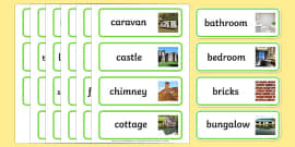 Houses and Homes Topic Word Cards
