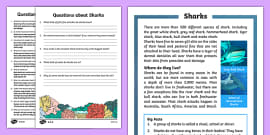 Sharks Differentiated Reading Comprehension Activity