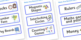 Snowflake Themed Editable Maths Area Resource Labels